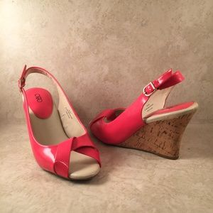 Orange Wedge Peep Toe Sandals Wedges Size 9W CATO